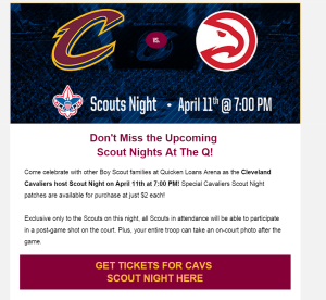 Cavs Scout Night 4-11-16